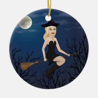 Blonde Hexe Keramik Ornament
