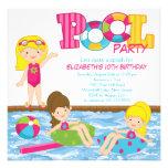 Blonde Mädchen-Geburtstags-Pool-Party Einladung