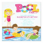 Blonde Mädchen-Geburtstags-Sommer-Pool-Party Individuelle Ankündigung