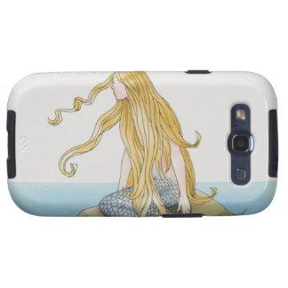 Blonde Meerjungfrau, die auf Seefelsen, Seitenansi Galaxy SIII Etuis