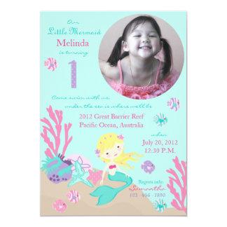 Blonde Meerjungfrau-erster Geburtstag Karte