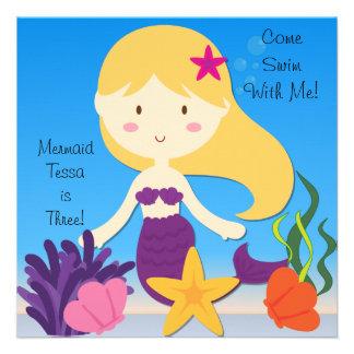 Blonde Meerjungfrau-kundenspezifische Individuelle Ankündigungskarte
