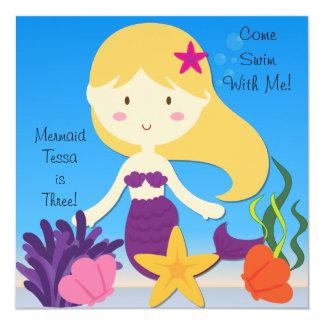 Blonde Meerjungfrau-kundenspezifische Quadratische 13,3 Cm Einladungskarte