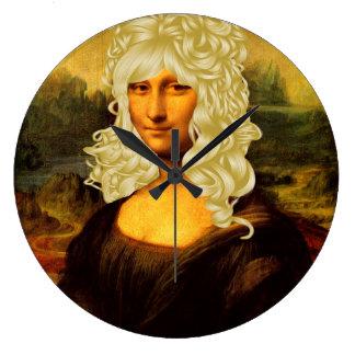Blonde Mona Lisa Große Wanduhr