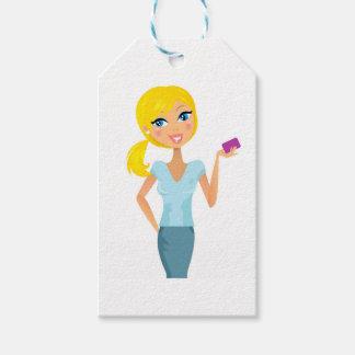 Blonde niedliche Mädchenillustration des Geschäfts Geschenkanhänger