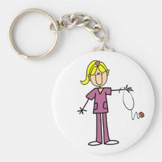 Blonde weibliche Strichmännchen-Krankenschwester-T Schlüsselanhänger