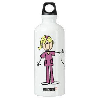 Blonde weibliche Strichmännchen-Krankenschwester Wasserflasche
