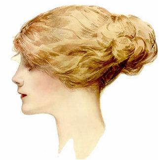 Blondes Mädchen-Button Harrison Fisher Fotoskulptur Button