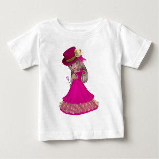 Blondes Mädchen, das eine rosa Rose hält Baby T-shirt