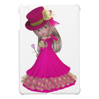 Blondes Mädchen, das eine rosa Rose hält iPad Mini Hülle
