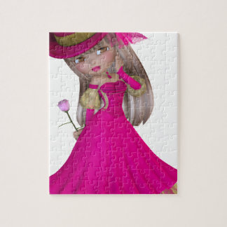 Blondes Mädchen, das eine rosa Rose hält Puzzle