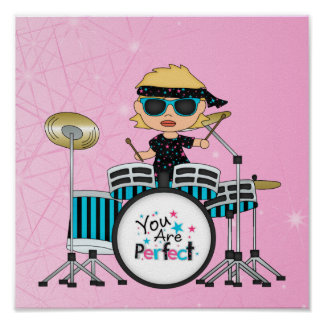 Blondes Schlagzeuger-Mädchen mit Sternen auf Rosa Posterdruck