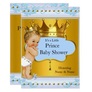 Blondine Babyparty-Prinz-Boy Blue Gold Crown Karte