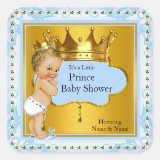 Blondine Babyparty-Prinz-Boy Blue Gold Crown Quadrat-Aufkleber