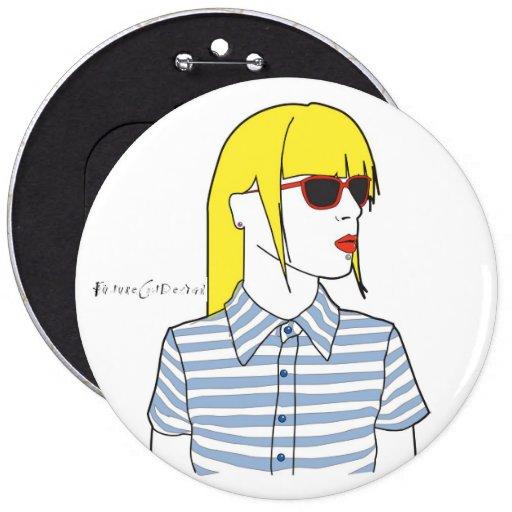 Blondine, Mailand-Modemädchen Anstecknadelbutton