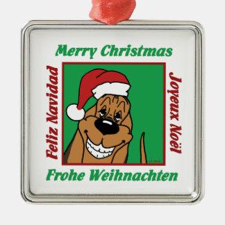 Bloodhound Weihnacht Silbernes Ornament