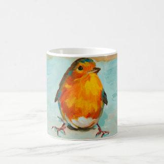 BloOrp! Der englische rote Robin auf blauem Kaffeetasse