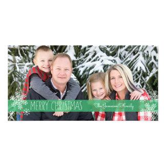 Bloße grüne WeihnachtsFoto-Karte Karte