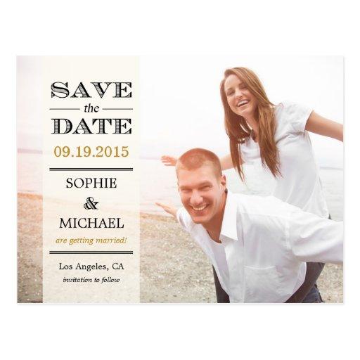 Bloße Überlagerungs-Save the Date Postkarte - Crem