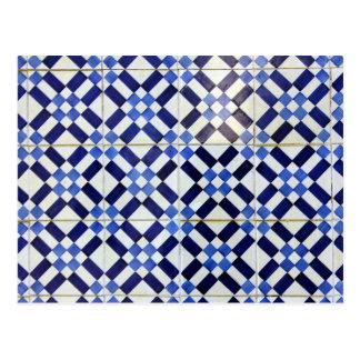 Blue and Whiter Kachel Postkarte