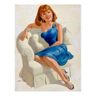 Blue dress postkarte