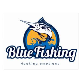 Blue Fishing Postkarte