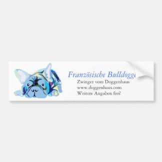 Blue French Bulldog Autoaufkleber