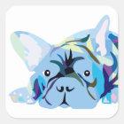 Blue French Bulldog Quadratischer Aufkleber