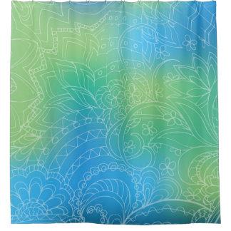 blue gradient Zen pattern Duschvorhang