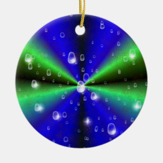 Blue Green Rainbow in Elephant Skin Leather Optic Keramik Ornament