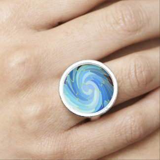 Blue Mosaik spiral Foto Ring