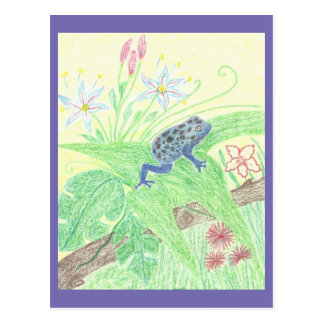 Blue poison dart frog postkarte