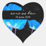Blue Poppies Wedding Sticker