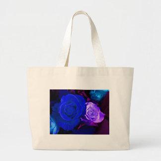 Blue Purple Rose Canvas Bag