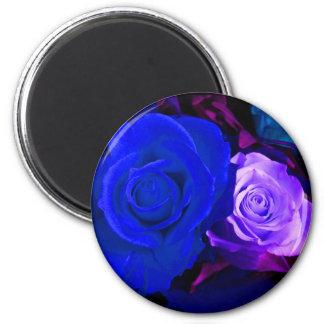 Blue Purple Roses Magnet - Customizable Refrigerator Magnet