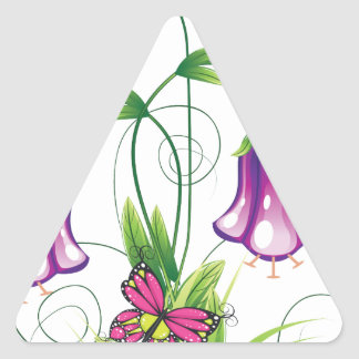 Bluebell-Blume mit Blätter Dreieckiger Aufkleber