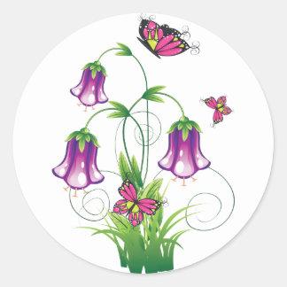 Bluebell-Blume mit Blätter Runder Aufkleber