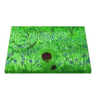 Bluebell-hölzerne Igels-Natur-Kunst Leinwanddruck