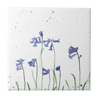 Bluebells-Wasserfarbemalerei Fliese