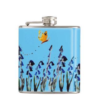 Bluebellsschmetterlings-Blumenkunst Flachmann