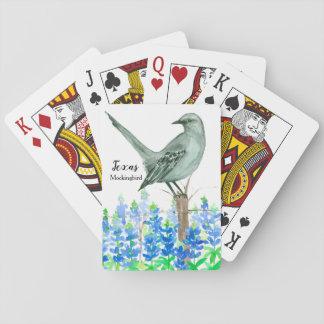 Bluebonnets-Spottdrossel-Staats-Vogel von Texas Spielkarten