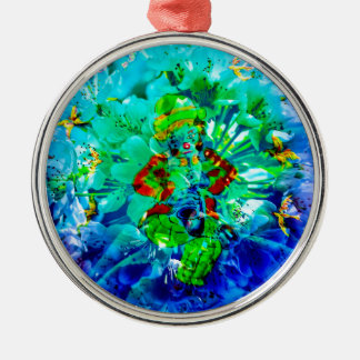 Bluehende Fantasie Musikant Rundes Silberfarbenes Ornament