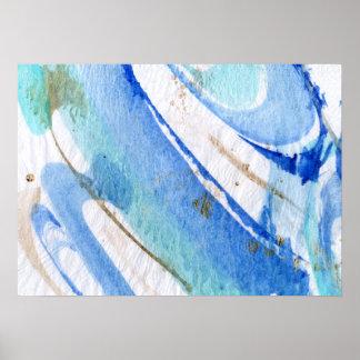 Blues003 abstrakter Watercolor-strukturiertes Poster