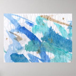 Blues008 abstrakter Watercolor-strukturiertes Poster