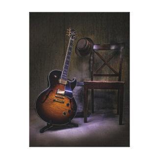 Blues-Gitarre und Stuhl Leinwanddruck