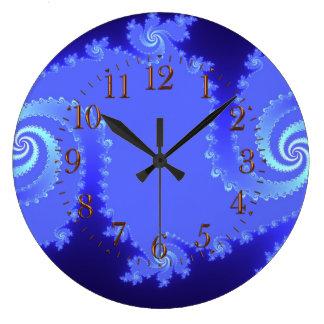 Blues-Julia-Fraktal-abstrakte Kunst-Wand-Uhr Große Wanduhr