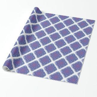 Blues, Purpur, Veilchen-Fraktal mit weißem Rand Geschenkpapier