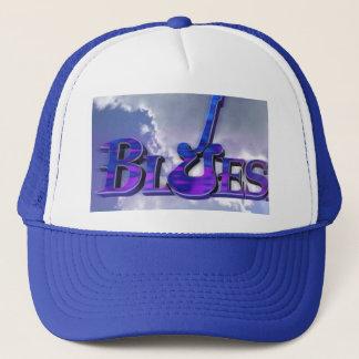 Bluesgitarrenentwurf auf blauem und weißem truckerkappe