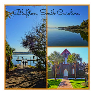 Bluffton South Carolina Lowcountry Collage Poster