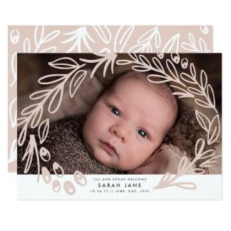 Blühen der Rahmen-Geburts-Mitteilungs-Karten 12,7 X 17,8 Cm Einladungskarte